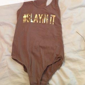 Beyonce Inspired Gold on Brown Slayin It Bodysuit.
